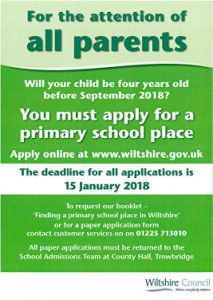 Primary School Application Deadline